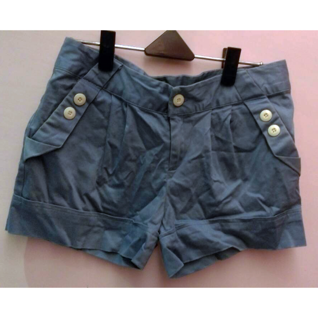 淺藍色 反摺 休閒短褲 M號