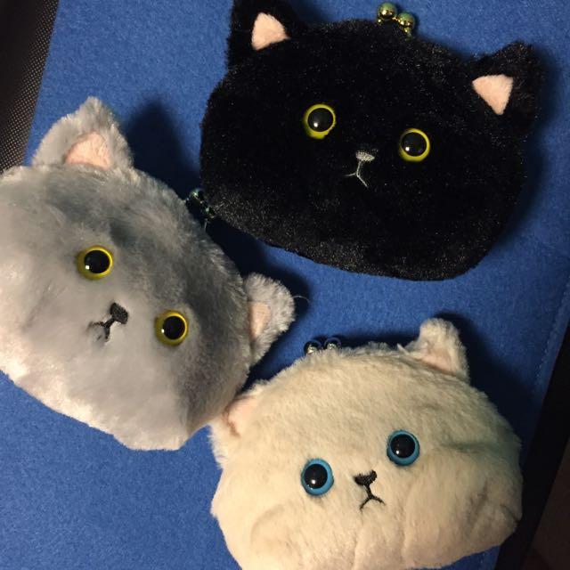 日本帶回 Miu 毛絨貓咪零錢包 貓頭零錢包