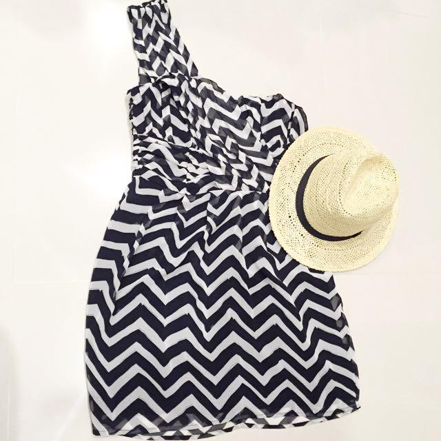 H&M 氣質單肩黑白條紋洋裝