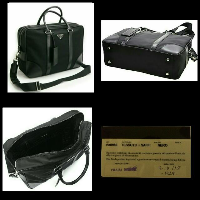 e7f65b057a4e7a Prada Mens Briefcase Work Bag in Black Tessuto Nylon and Leather ...
