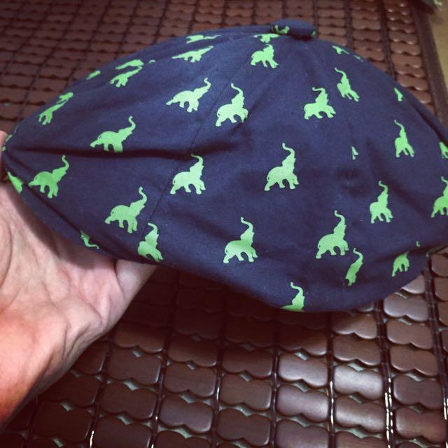 ZARA 偵探帽 (藍底綠大象圖)
