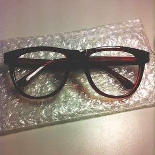 Uniqlo 眼鏡 鏡框 暗紅