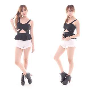 Black Cut Out Peplum Top  / Bralet