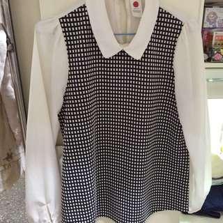 師大購入 韓版上衣 雪紡拼接襯衫 保存良好