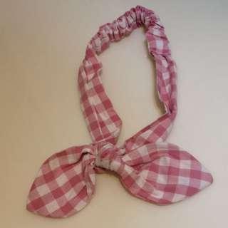 粉紅格子髮帶