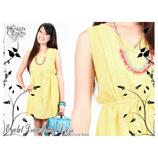 TDC The Design Closets Eyelet Drawstring Dress in Yellow