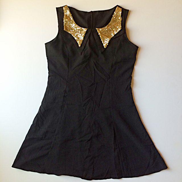 閃亮領小黑洋裝