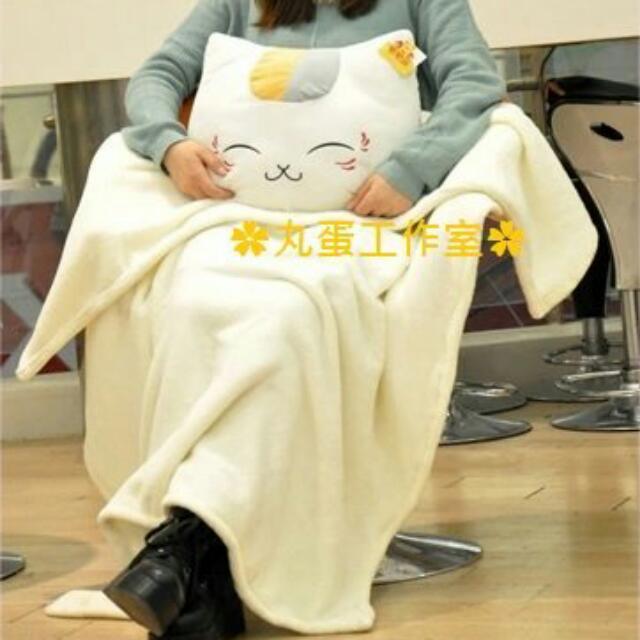 現貨※貓咪老師夏目友人帳三合一插手抱枕毯子睜眼瞇眼