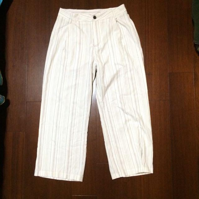 白色條紋寬褲