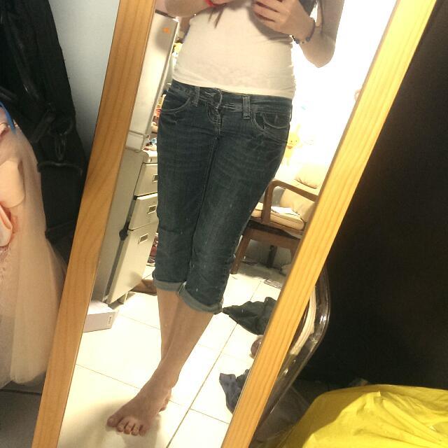 【衣服】深藍 七分牛仔褲