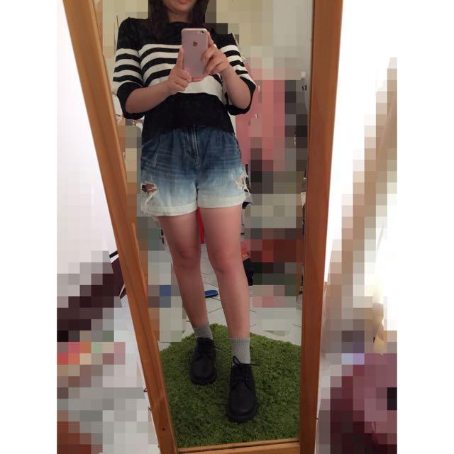 Heather 牛仔漸層高腰短褲