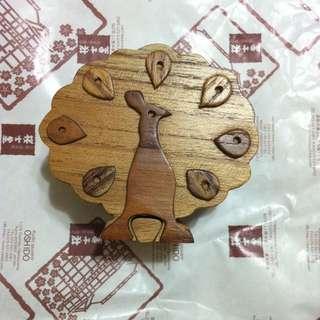 孔雀造型 木製 機關盒 秘密盒