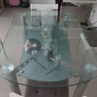 Dinning Table with Temper Glass