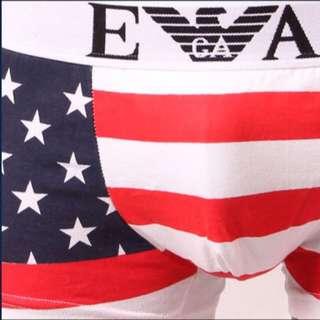 純棉可愛卡通情侶內褲男士平角三角性感低腰國旗