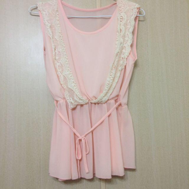 粉膚色雪紡連身裙✨