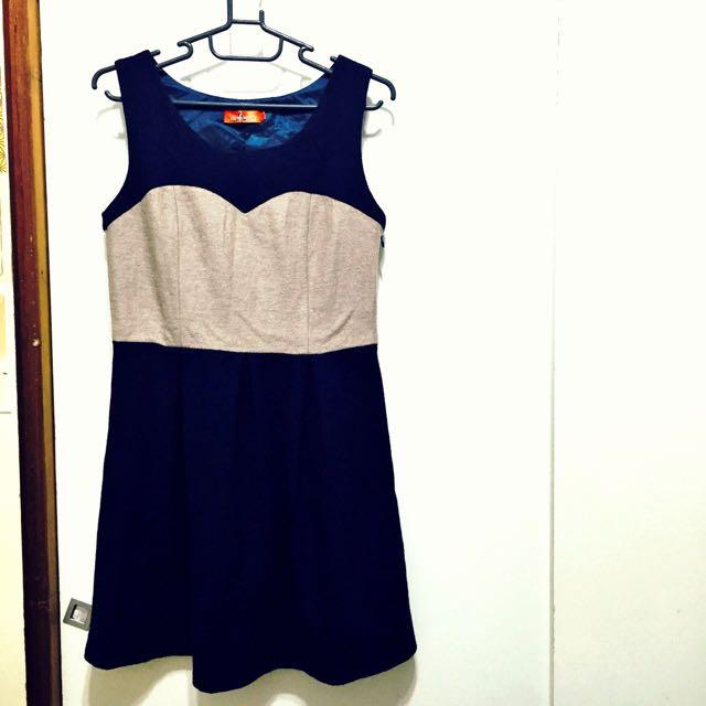 二手衣-深藍.駝色無袖洋裝