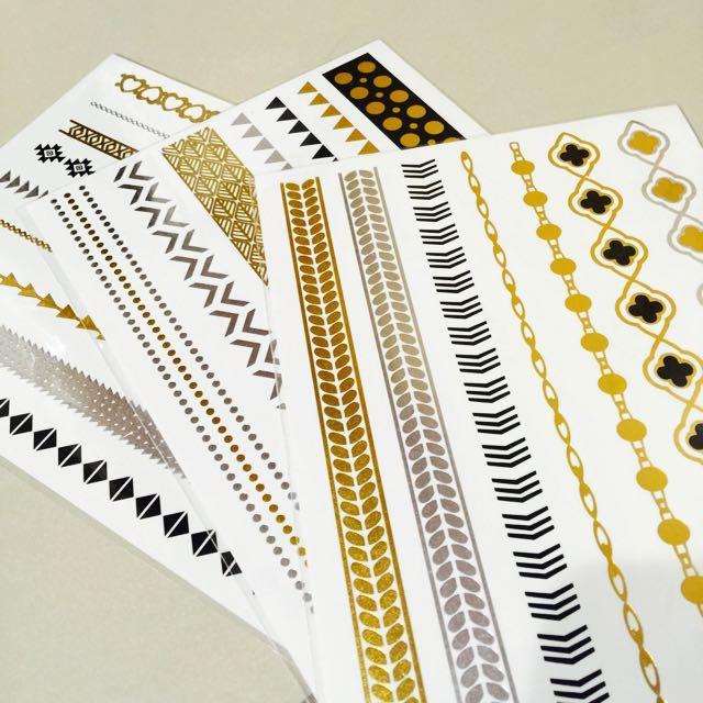 ✨金銀紋身貼紙✨