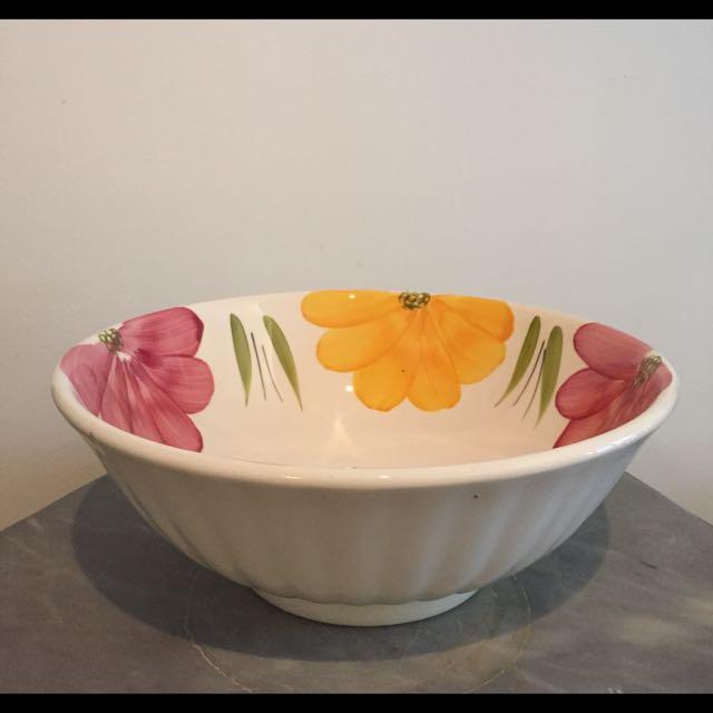 Large Fruit Bowl With Floral Motifs