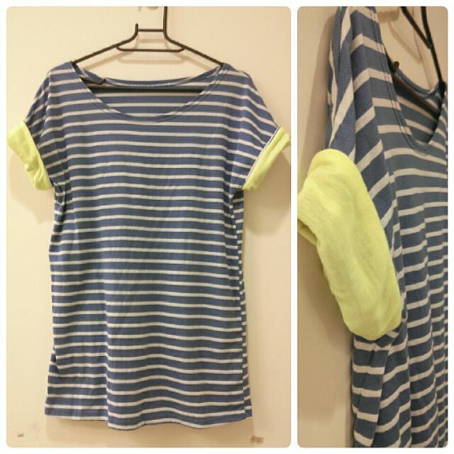 (保留中)【全新】藍底白條紋螢光反折袖棉T