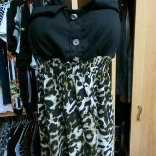 極新豹紋三穿式洋裝