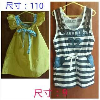 女童洋裝X2(加贈短褲尺寸:5)