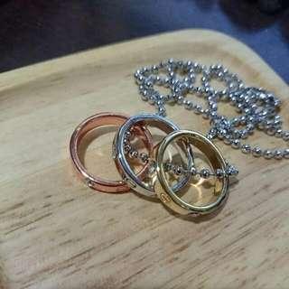項鍊 - 三色亮鑽三戒指