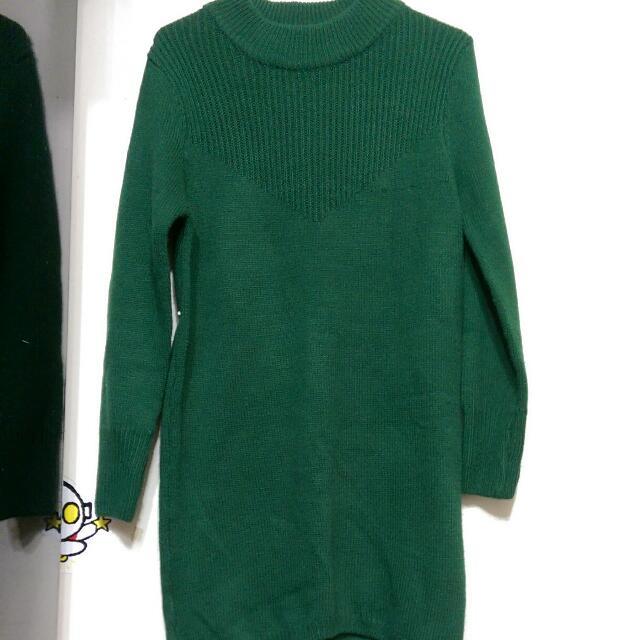 墨綠長版連身裙