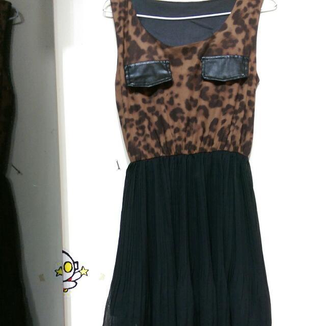 豹紋小洋裝