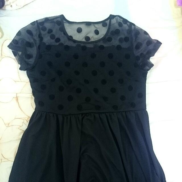 全新日本原宿帶回 點點經典黑色短袖洋裝