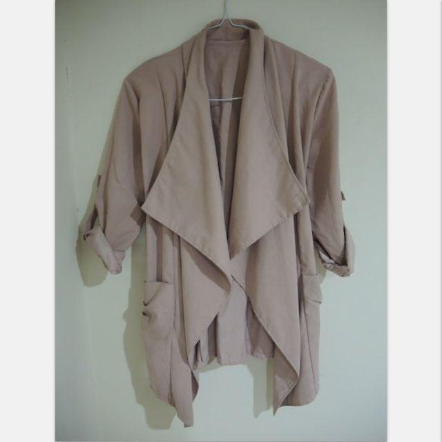 蜜桃絨 蓮藕色 風衣外套