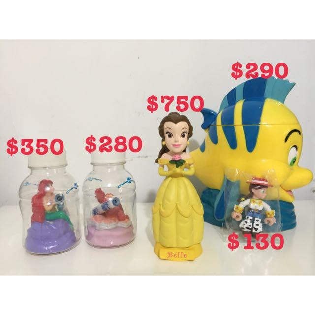 迪士尼 Tomy Yujin 小美人魚 比目魚 賽巴斯丁 貝兒公主 翠絲 玩總 玩具總動員 瓶中公仔 杯子 搖頭娃娃 積木公仔