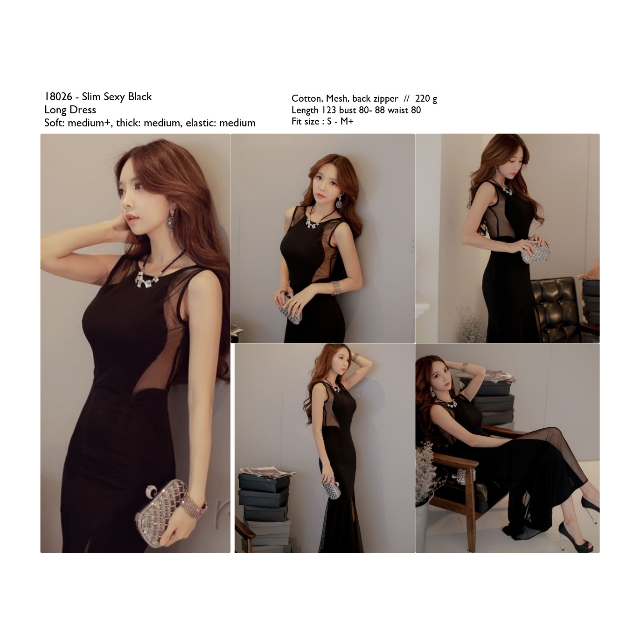 Long Dress Pesta Sexy Import Black Cotton Mesh Cina Korea Murah