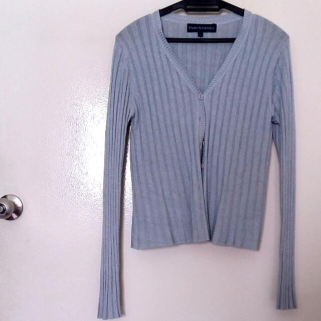 PADINI AUTHENTICS Dusty Blue Striped Cardigan