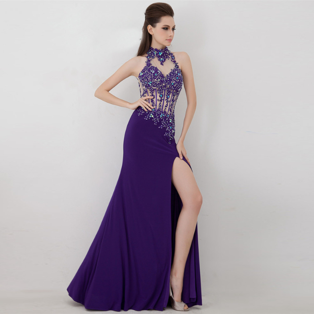Pre order Red or purple violet halter neck bodycon slit lace crochet ...