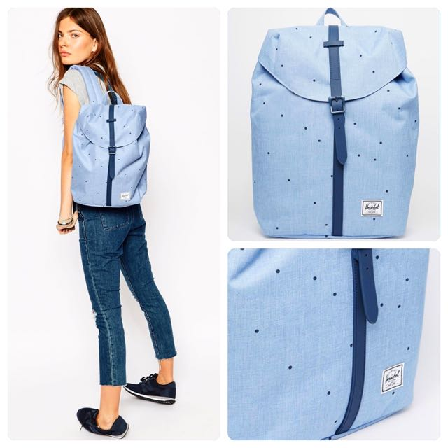 9ece4bbbb3f9 SOLD Herschel Post Backpack In Chambray Spots