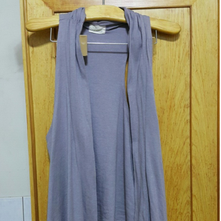 韓製長版淡紫色顯瘦背心,可遮臀