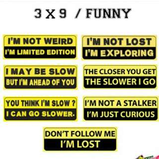 Car Stickers / Bumper Stickers - Funny Series