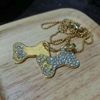 項鍊 - 金色亮鑽雙小狗狗骨頭