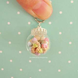 Tiny Iced Gems Biscuits Glass Globe Necklace