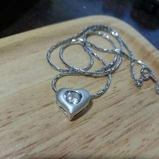 項鍊 - 銀色立體白亮鑽愛心