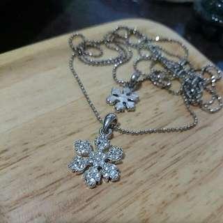 項鍊 - 雙鍊銀色雪花白亮鑽