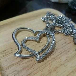 項鍊 - 銀色白亮鑽雙愛心