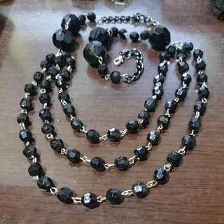 項鍊 - 黑色鑽切珠珠三鍊(可扣衣服款)