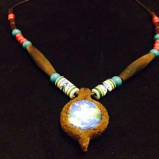 「大地之母生命之花」手創南美風 真皮項鍊