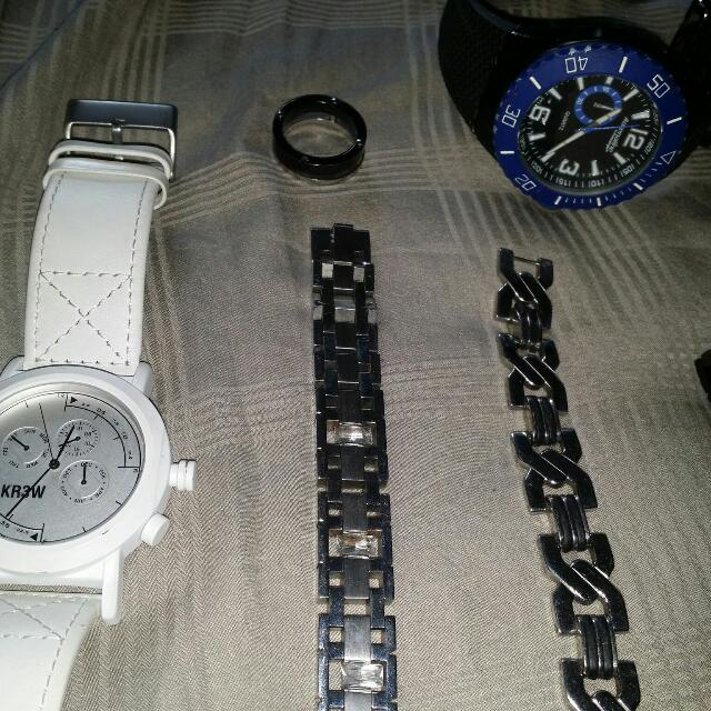 3 Watches. 2 Bracelets And 2 Rings