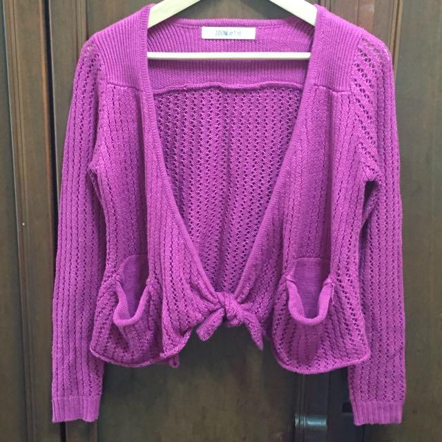 短版紫色針織外套