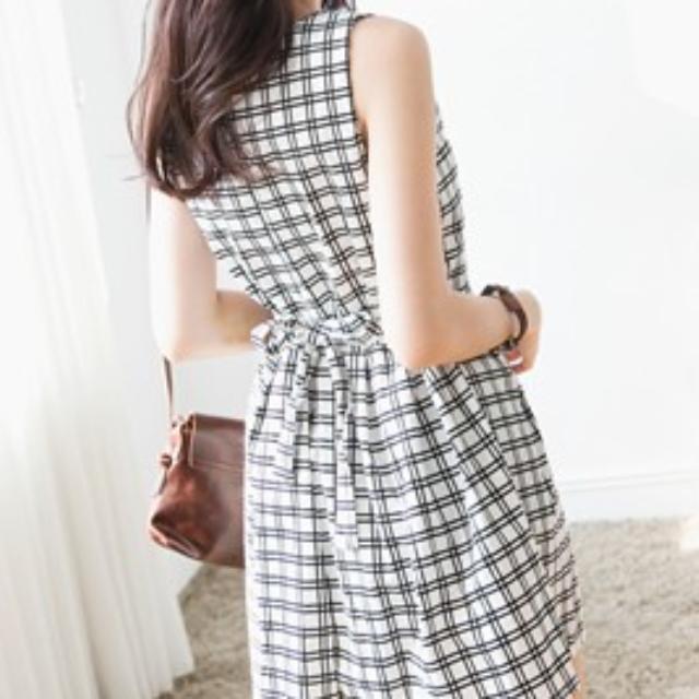 幾何綁帶洋裝