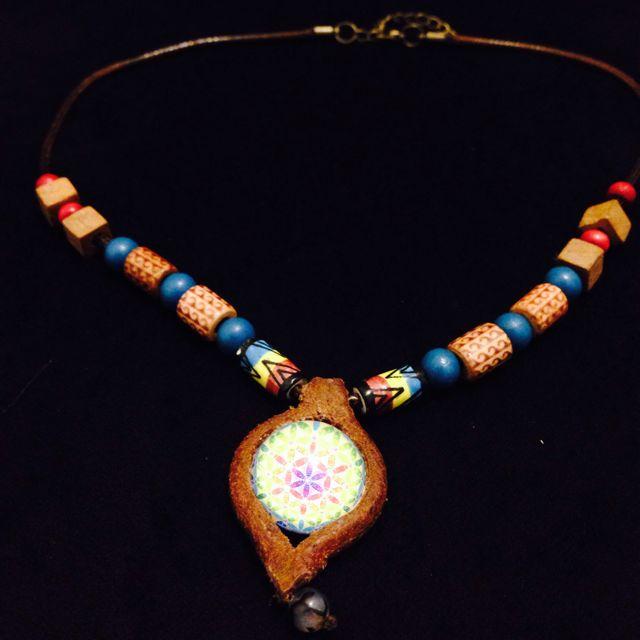 「生命之花」極致工藝 手創南美風 真皮項鍊