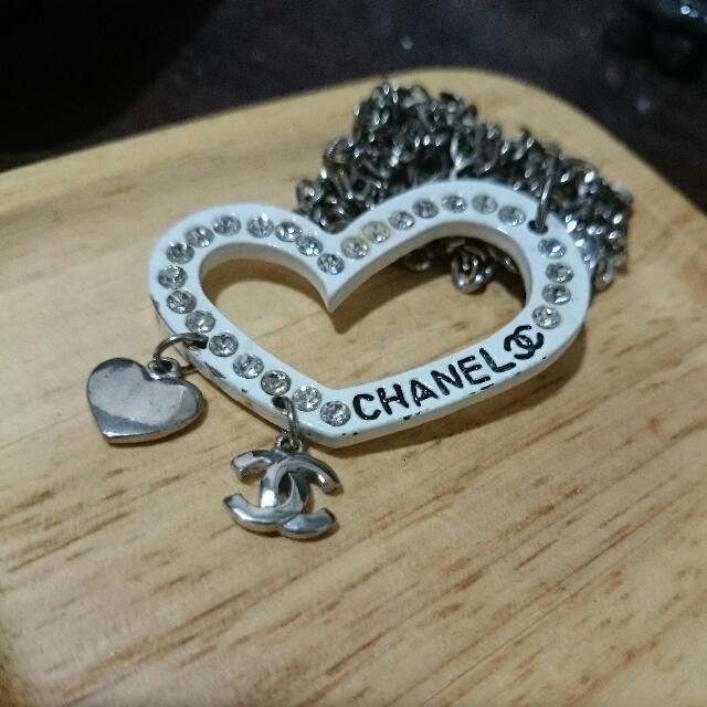 項鍊 - 亮鑽白色英文字母愛心