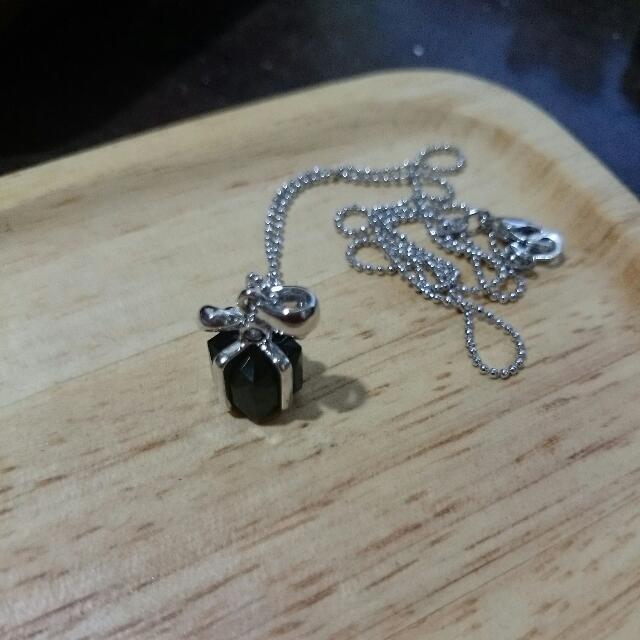 項鍊 - 白鑽蝴蝶結包黑鑽禮物款